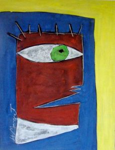 Captive Head, Casein, Chalk:Paper, H Margret